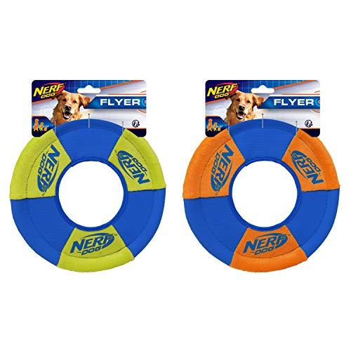 Nerf Dog (2-Pack) UltraPlush Trackshot Toss and Tug Ring Dog Toy, Orange/Blue & Green/Blue, Medium