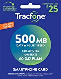 Tracfone Smartphone Only Airtime Service Card - 500 Minutes - 1000 Texts - 500 mb data