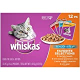 Whiskas TENDER BITES Favorite Selections Variety Pack Wet Cat Food, (48) 3 oz. Pouches