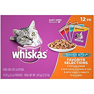 Whiskas Tender Bites Favorite Selections Variety Pack Wet Cat Food, (48) 3 Oz. Pouches 111