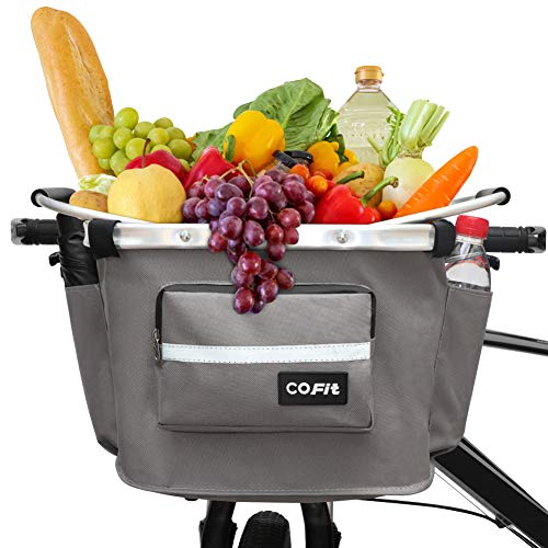 COFIT Detachable Bike Basket Gray Upgraded, Multi-Purpose Bicycle Front Basket for Pet Carrier, Grocery Shopping, Briefcase Commuter, Outdoor Camping, with Extra 3 Pouches and 1 Cover