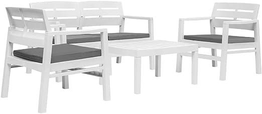 Festnight Conjunto Muebles de Jardín Cafetería Sofá Exterior 4 Piezas Plástico Blanco Ideal para Balcón y Terraza: Amazon.es: Hogar
