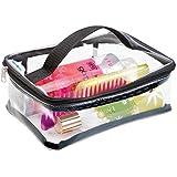 mDesign elegante beauty case da viaggio – borsa da spiaggia, ideale organizer cosmetici – funzionale e versatile valigetta porta trucchi – trasparente / nero