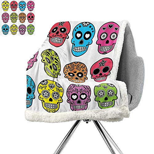 Skulls Decorations Collection Blanket Small Quilt,Ornate Colorful Traditional Mexian Halloween Skull Icons Dead Humor Folk Art Print,Multi,All Season Blanket W59xL78.7 Inch -