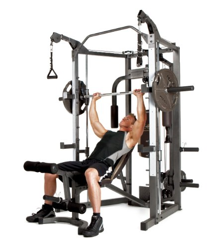 Marcy Smith Cage Machine With Workout Bench And Weight Bar