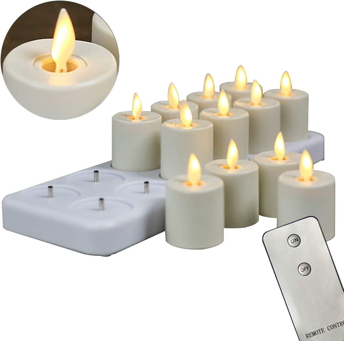 12 Pack Rechargeable Dancing Wick Candles, LED Flameless Remote Flickering Votive Candles With Timer Function 1.5 X 2.4 Inch per Candle