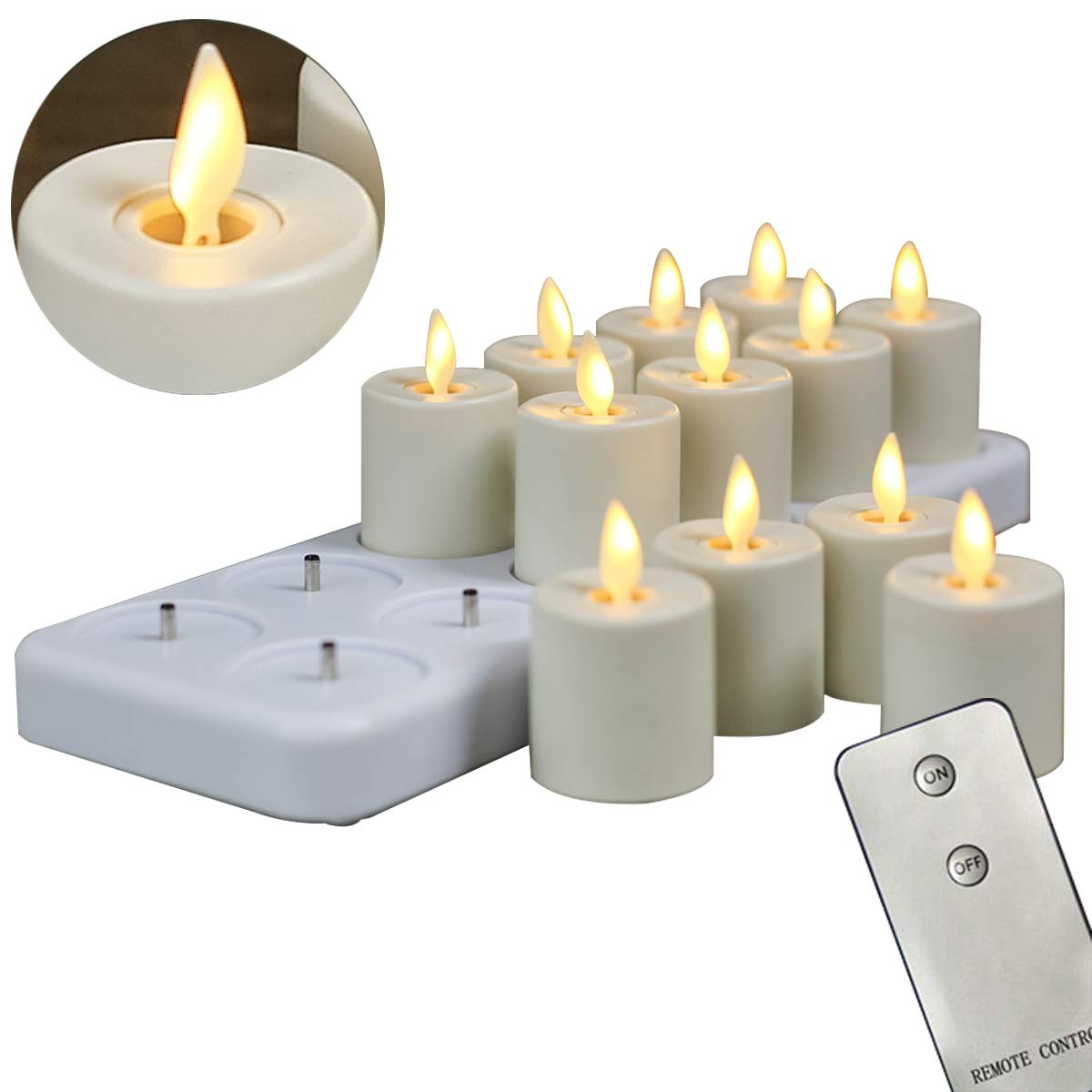 12 Pack Rechargeable Dancing Wick Candles, LED Flameless Remote Flickering Votive Candles With Timer Function(1.5 X 2.4 Inch per Candle) by NONNO&ZGF