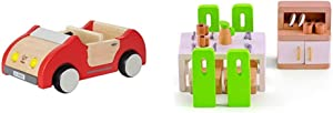 Hape Dollhouse Family Car | Wooden Dolls House Car Toy, Push Vehicle Accessory for Complete Doll House Furniture Set & Wooden Doll House Furniture Dining Room Set