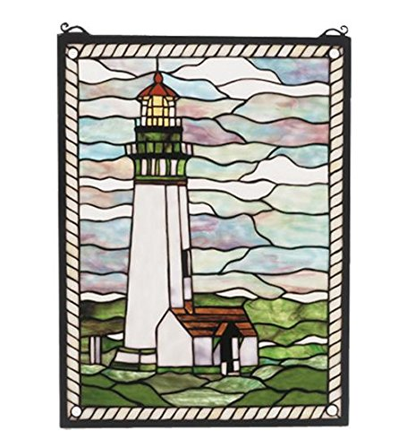 Tiffany   Head Lighthouse Stained Glass Window