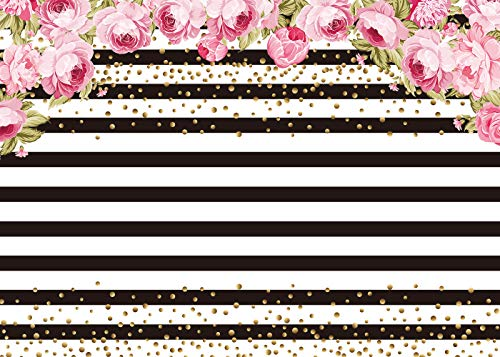 (Black and White Stripe Backdrop For Pictures Photo Studio Background Pink Rose Flower Birthday for Photography 7x5FT)
