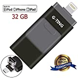 USB Flash Drives for iPhone 32GB Pen-Drive Memory Storage, G-TING Jump Drive Lightning Memory Stick External Storage, Memory Expansion for Apple IOS Android Computers (Black)