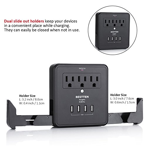 BESTTEN Multi Outlet Wall Tap Adapter Surge Protector with 4 USB Charging Ports (4.2A Total), 3 Outlet Multipliers and 2 Slide Out Phone Holders, 15A/125V/1875W, ETL Certified, Black by BESTTEN (Image #4)