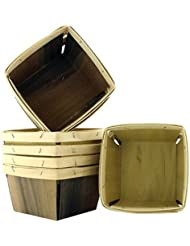 "One Quart Wooden Berry Baskets (8-Pack); 5.5"" Square Vented Wood Boxes for Fruit Picking or Arts & Crafts"