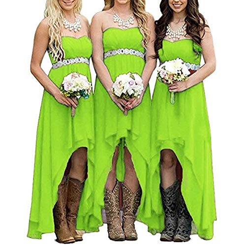 Vweil Strapless High Low Bridesmaid Dress Western Country Chiffon Wedding Guest Gown Lime Green