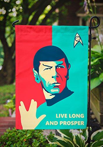 Star Trek Garden Flag | Spock Live Long and Prosper | 12.5 x 18 in (Star Trek United Federation Of Planets Blue Flag)