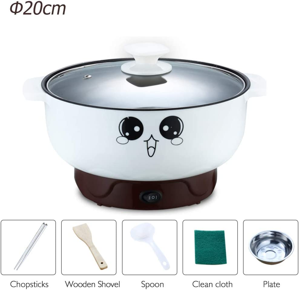 Electric Skillet with Lid Non-Stick Multifunctional Small Electric Grill Pot Skillet Cooker for Cooking Rice Hot Pot Frying Steamed Eggs Porridge 110V (2L without Steamer)