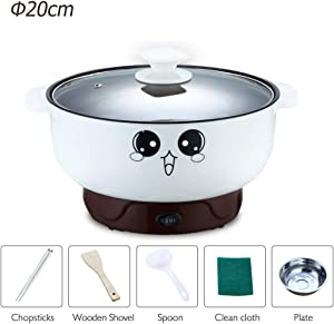 4-in-1 Multifunction Electric Skillet Non-Stick Stainless Steel Hot Pot Noodles Rice Cooker Steamed Egg Soup Pot Portable Mini Heating Pan Cooking Fried (Diameter 20CM, 2.3L, Electric Skillet)