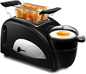 4-in-1 Toaster With Egg Boiler And Poachers, 2 Slice Toaster With Mini Frying Pan, Steamer, Wide Slot