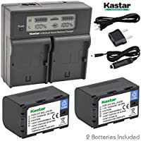 Kastar LCD Dual Smart Fast Charger & Battery (2 PACK) for JVC SSL-JVC50 and JVC GY-HMQ10, GY-LS300, GY-HM200, GY-HM600, GY-HM600E, GY-HM600EC, GY-HM650 Camcorders
