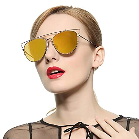 VIVIENFANG Technologic Crossbar Flat Lens Mirrored Aviator Sunglasses Cateye Shades 86472