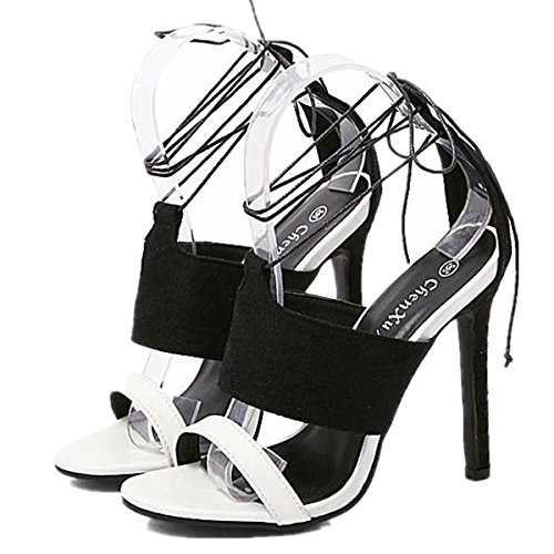 Heel Stiletto Sandals Womens Dress High Sexy ANBOVER Black Strap Cross qXdwY8Ax