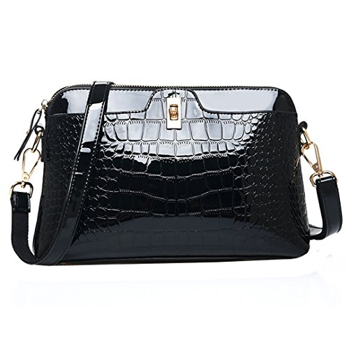 Women PU Patent Leather Alligator Stripe Handbag Clutch Shoulder Bag Cross Body Bag Clutch Handbag Shell Bag(Black)