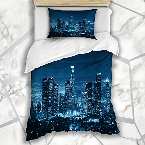 Ahawoso Duvet Cover Sets Twin 68X86 USA Skyline Los Angeles Downtown Night Parks City Cityscape Black White Light La Microfiber Bedding with 1 Pillow Shams