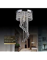 "Crystal Ceiling Light LED 3 Brightness Crystal Chandelier Chandelier Ceiling Light Suitable for Staircase Corridor Living Room Lamp with LED Bulb (D-9.8"")"