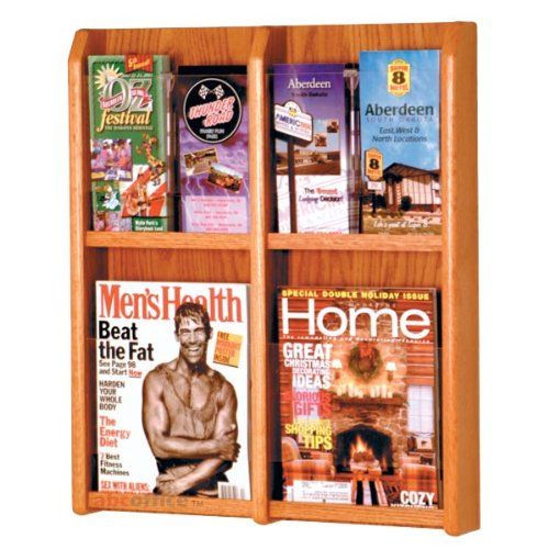 (Wooden Mallet LM-6 Wall Mounted 4-Pocket Magazine or 8-Pocket Brochure Rack in Medium Oak)