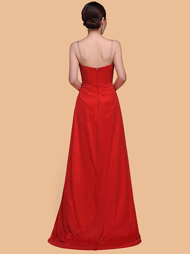 Dearta Womens A-Line Spaghetti Straps Sleeveless Sweep Train Evening Dresses
