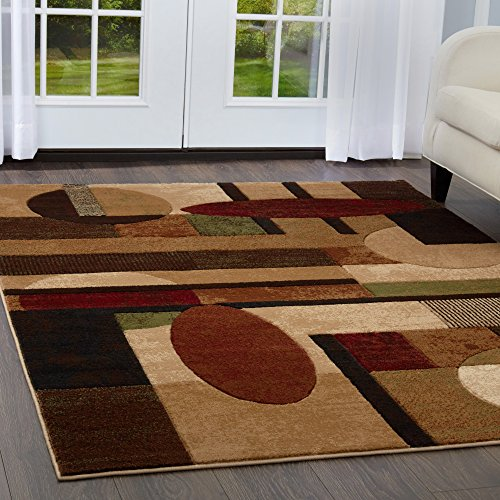 Home Dynamix Tribeca Jasmine Modern Area Rug, Abstract Brown/Green 5'2