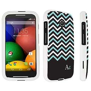 DuroCase ? Motorola Moto E (2014 Released) Hard Case White - (Black Mint White Chevron A)