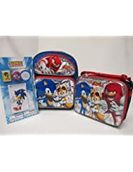 Sonic The Hedgehog Toddler Medium 12 Backpack Book Bag, Lunch Box & 4 Piece Study Kit