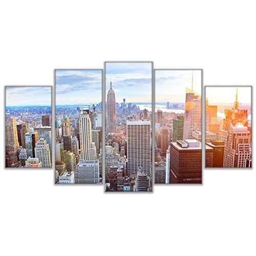 qingyuge 5 Panels Canvas Wall Arthome Decor Print Painting Vintage 5 Panel The Empire State Building Night View Art Canvas Wall Picture for Living Room Frameless,30X40 30X60 30X80Cm]()
