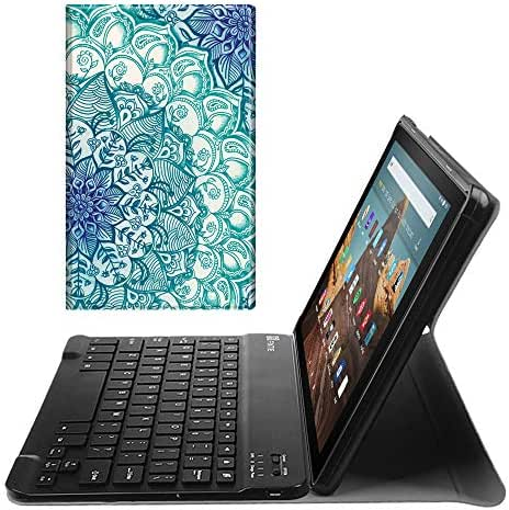 Fintie Keyboard Case for All-New Fire HD 10 (7th and 9th Generations, 2017 and 2019 Releases), Slim Lightweight Stand Cover with Detachable Wireless Bluetooth Keyboard, Emerald Illusions