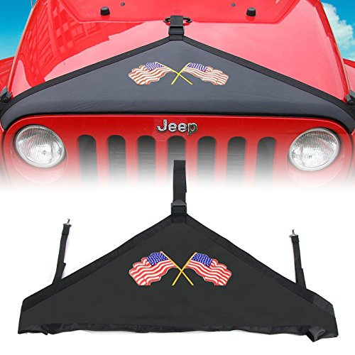 Hood Cover Hood Bra Protector Cover Fits Front USA Flag 2007-2017 Jeep Wrangler JK (Double Flag)