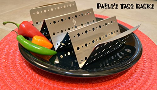Taco Holder with Handles for Hard or Soft Tacos - Stainless Steel Large Racks - Set of 2 Restaurant Grade Quality Taco Truck Stands Oven Safe by Elite Homeware (Image #6)