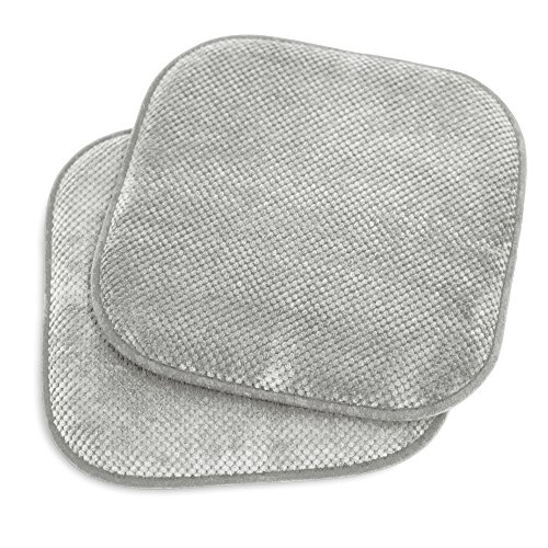 Kashi Home 16″x16″ Memory Foam Chair Seat Cushion Pad for Kitchen, Dining Room, Patio Chairs, Set of 2, Grey
