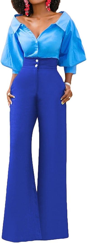 Damen Freizeit Hoch Taille Mode Stoffhose Schlaghose Bootcut Hose Freizethose DE