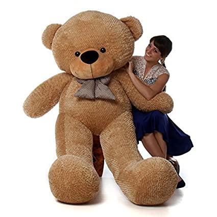 9189b014c7e Amazon.com  6 Foot Life-Size Teddy Bear Amber Brown Color Huge Stuffed  Animal Teddybear Shaggy Cuddles (Original)  Toys   Games