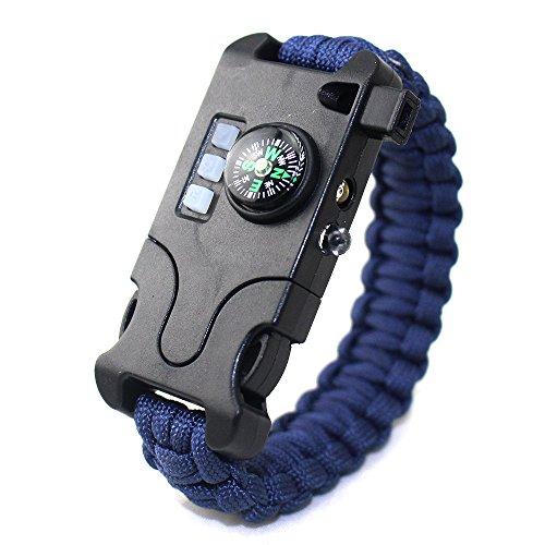 (VISUAL KEI Paracord Bracelet Survival Rechargeable Survival Wirst with LED Flashlight,Compass,Emergency Loud Whistle,Laser Infrared Bracelet for Hiking, Camping, Fishing,Climbing (Blue))