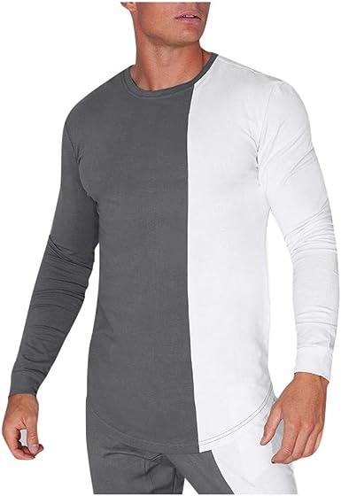 CLOOM Negro y Blanco Patchwork Blusa Casual Básico Camiseta De Manga Larga Moda Cuello Redondo Camisa Pullover para Hombre Casa Pijama: Amazon.es: Ropa y accesorios