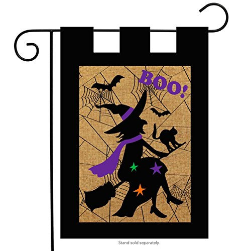 Briarwood Lane Halloween Witch Burlap Garden Flag Boo Bats Black Cat 12.5