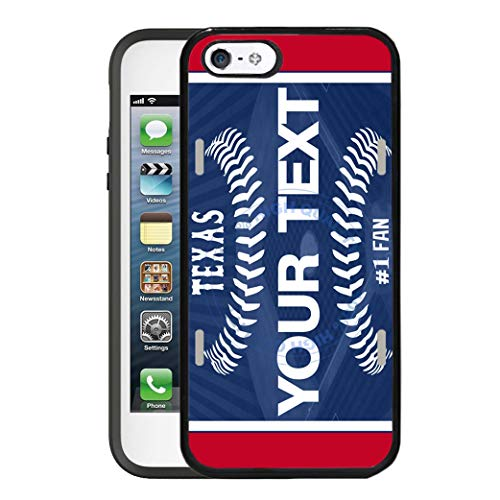 BRGiftShop Customize Your Own Baseball Team Texas Rubber Phone Case for Apple iPhone 5 5s & iPhone SE