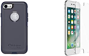 OtterBox COMMUTER SERIES Case for iPhone 8 & iPhone 7 - Retail Packaging - INDIGO WAY (MARITIME BLUE/ADMIRAL BLUE) & OtterBox ALPHA GLASS SERIES Screen Protector for iPhone 6/6s/7/8 - CLEAR