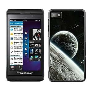 QCASE / Blackberry Z10 / las estrellas cosmos alienígenas espacio planetas luna de la tierra / Delgado Negro Plástico caso cubierta Shell Armor Funda Case Cover