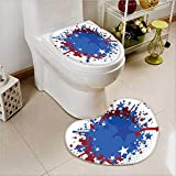 aolankaili 2 Piece Toilet mat set Soccer Ball with Splashed Like Background Ruby Dark Blue White and Red Toilet cushion suit