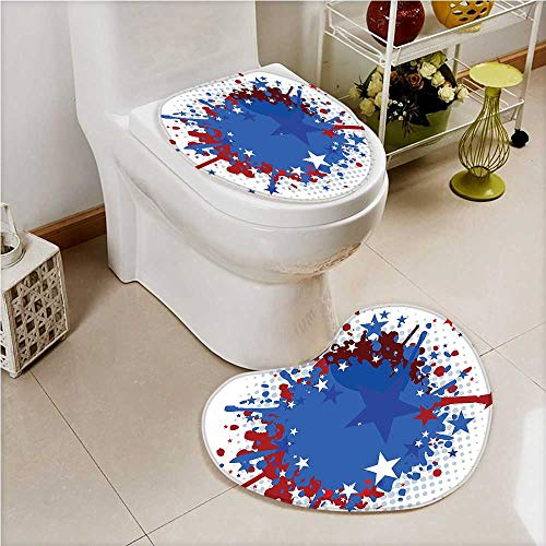 aolankaili 2 Piece Toilet mat set Soccer Ball with Splashed Like Background Ruby Dark Blue White and Red Toilet cushion suit by aolankaili