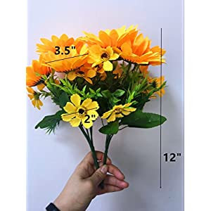 """Ieoyoubei 2 PCS Bouquet of Artificial Silk Flower Sunflower 12"""" Bouquet and Green Leaf for Home Decoration Bridal Wedding Festival Decoration Small Flower (Yellow-Orange) 5"""