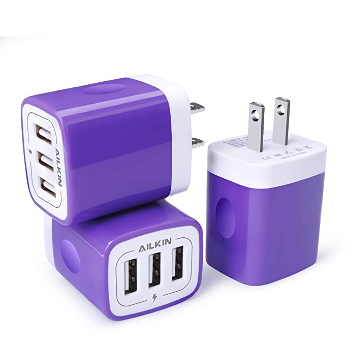 HTC Purple 3-Port Home Travel Fast Charging Station Plug Cube Wall Replacement for Phone X//8//7//Plus Ailkin 3 Pack//3.1A LG Samsung Galaxy Series Kindle etc. Huawei USB Charger Adapter Plug